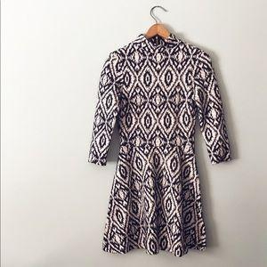H&M Mock Turtleneck Jacquard Black and White Dress